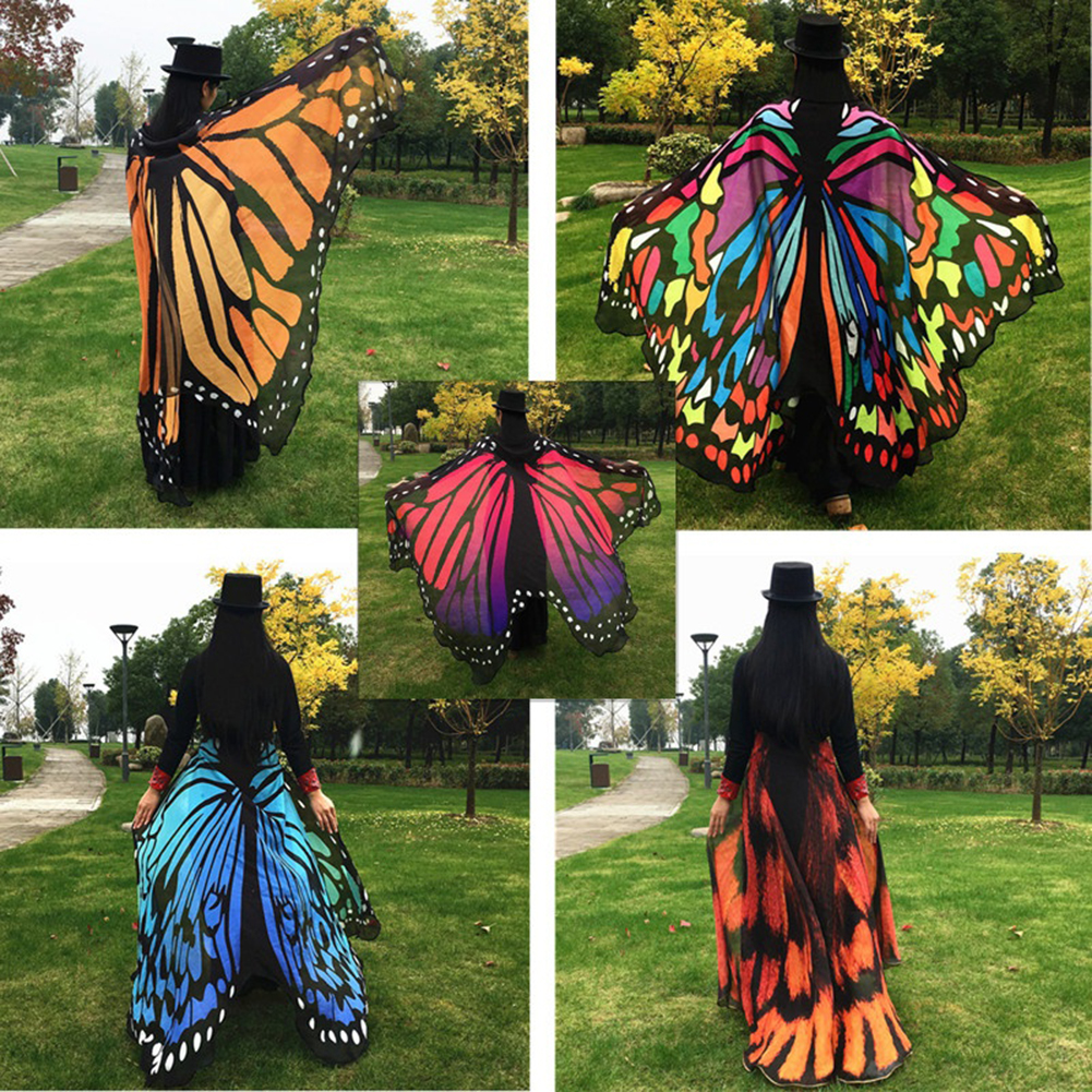 Girl12Queen Fashion Butterfly Wing Beach Towel Cape Scarf for Women Christmas Halloween Gift