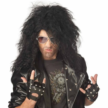 Heavy Metal Rocker Black Wig Adult Halloween Costume Accessory