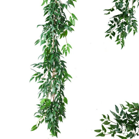 Aimeeli 67'' Artificial Wedding Willow Vine Plant Greenery Garland Wreath Leaves Hanging ()
