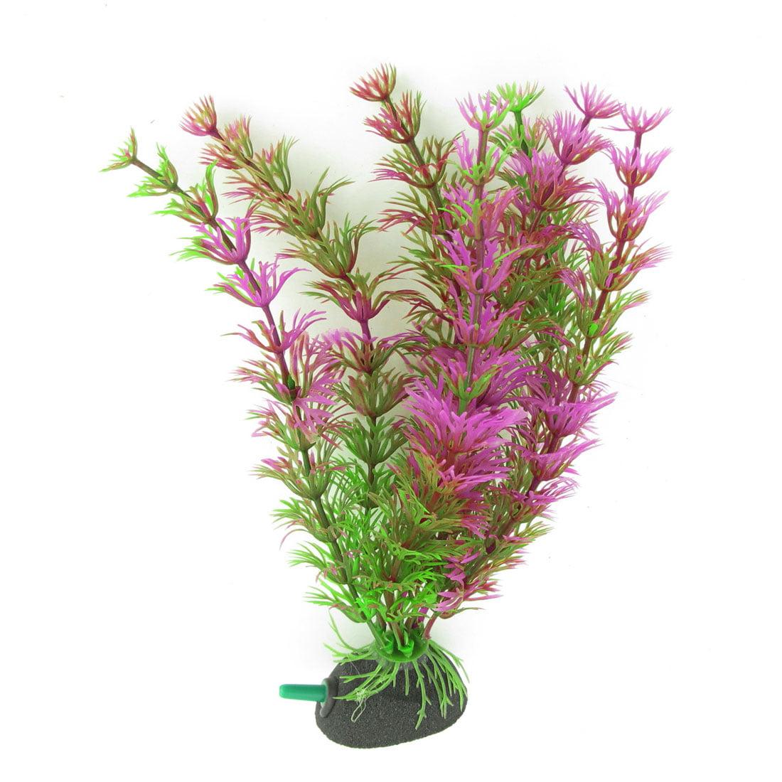 Unique Bargains 7.5 High Green Purple Emulational Plants Adornment for Fish Tank