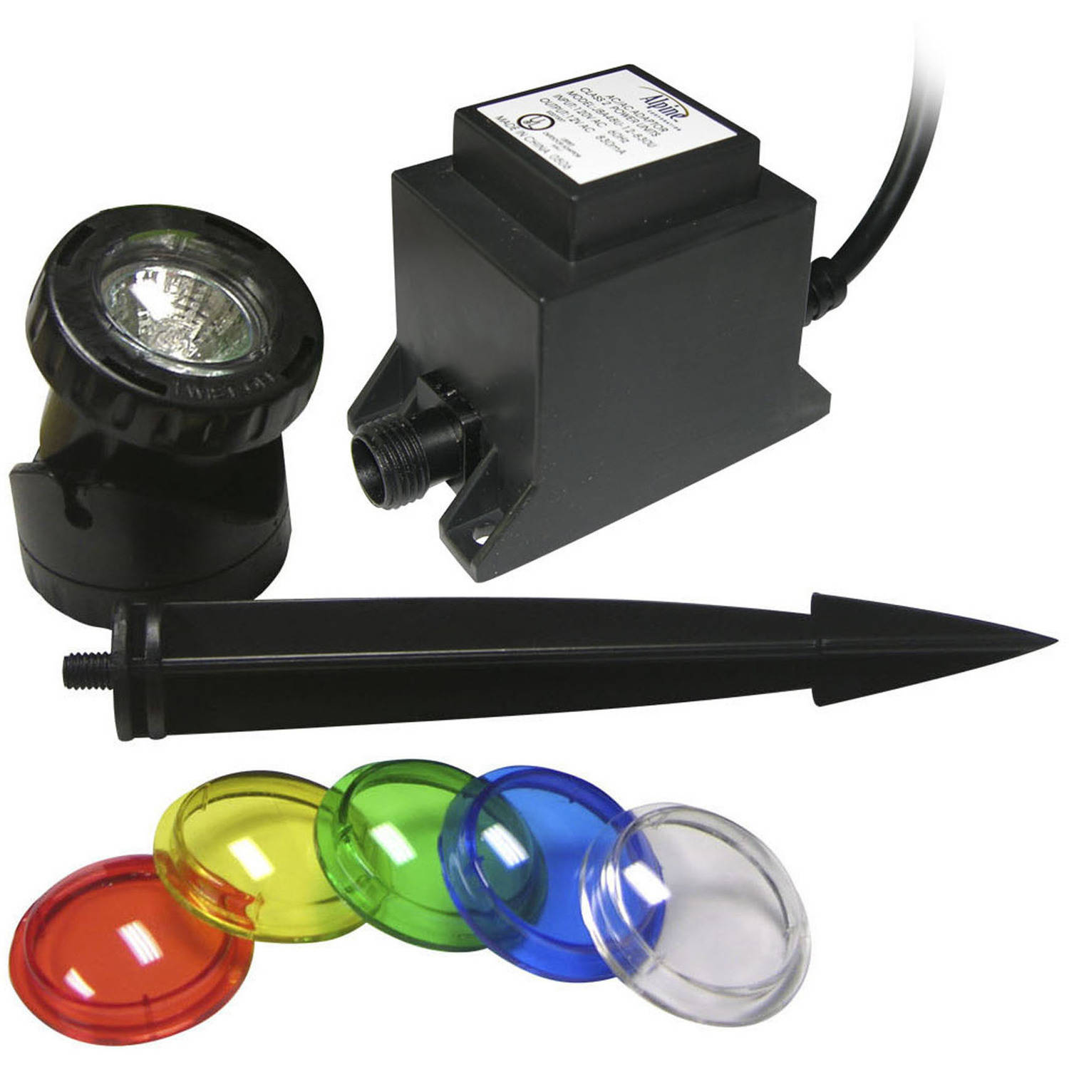 Power Beam 10W Light with Transformer, 23' Cord and Color Lenses