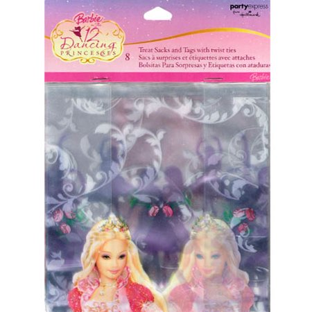 Barbie '12 Dancing Princesses' Cello Favor Bags w/ Twist Ties (8ct) - Barbie Party Favors