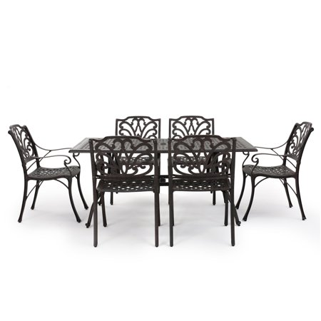 Gonzo Outdoor 7 Piece Cast Aluminum Rectangular Dining Set, Bronze
