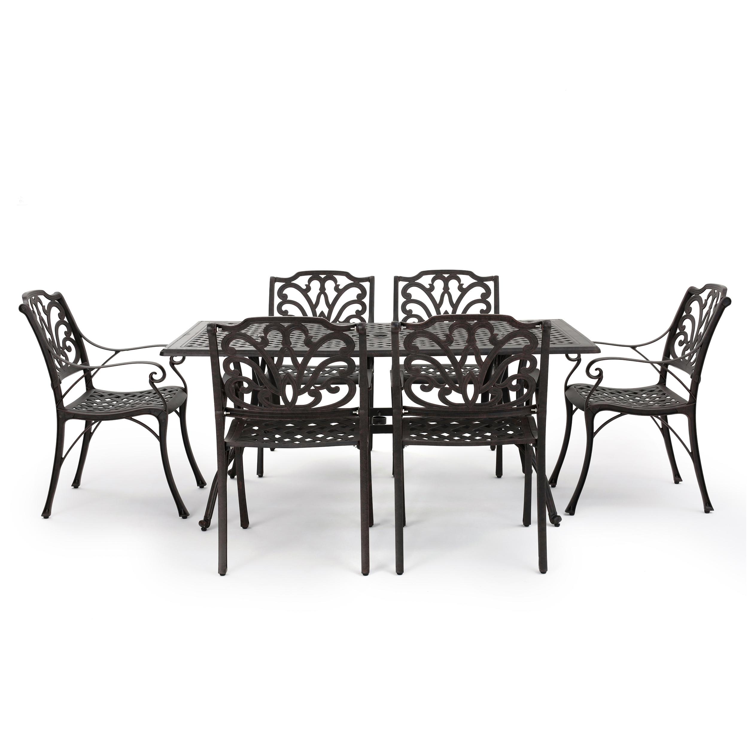 Gonzo Outdoor 7 Piece Cast Aluminum Rectangular Dining Set, Bronze
