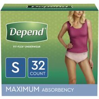 Depend FIT-FLEX Incontinence Underwear for Women, Maximum Absorbency, S, Blush, 32 Count