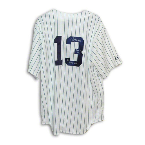 """MLB - Jim Leyritz Autographed New York Yankees Pinstripe Majestic Jersey Inscribed """"Game 4 HR 1996 WS"""""""