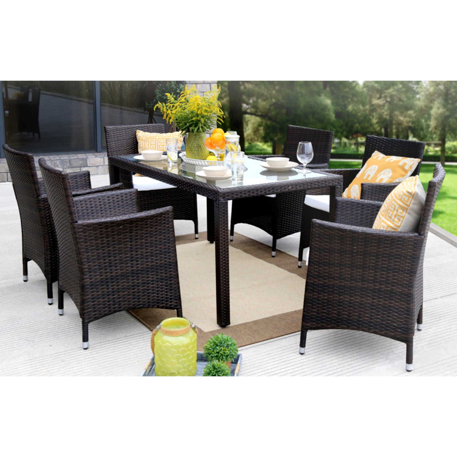 Baner Garden Outdoor Furniture Complete Patio Cushion PE Wicker Rattan Garden Dining Set, Brown, 7-Pieces
