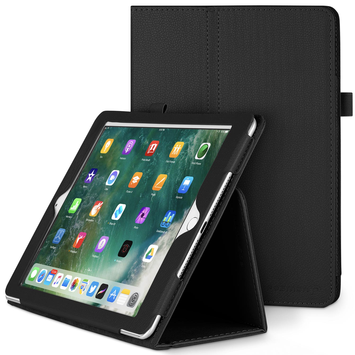 Fosmon OPUS Leather Folio Stand Case Cover for Apple iPad Air 2 - Black