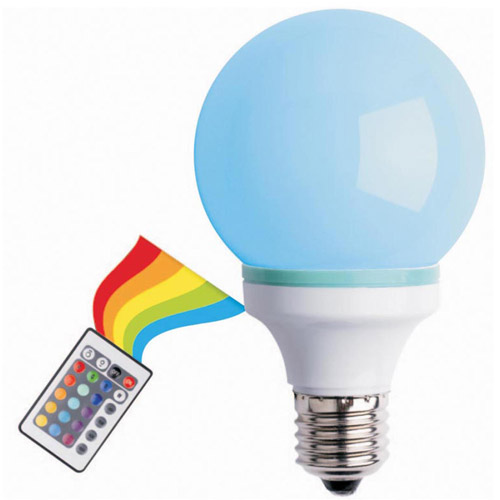Multi-Color Changing LED Bulb with Remote, White