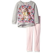 Juicy Couture Baby Girls' French Terry Flower Print Top and Pant Set, Pink, 24 Months