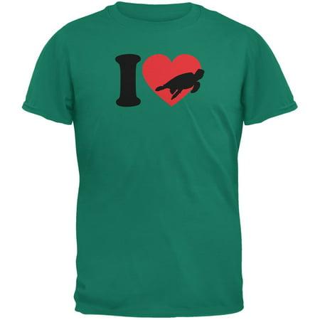 I Heart Love Sea Turtle Turtles Jade Green Adult T-Shirt