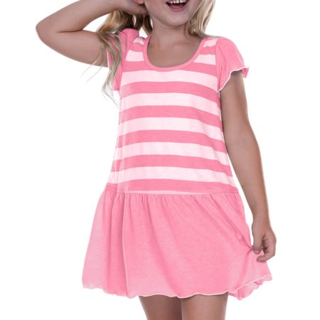 Kavio! Little Girls 3-6X Striped Jersey Scoop Neck Flutter Sleeve Dress Striped White/PinkFlash 6X](Black And White Dresses For Little Girls)