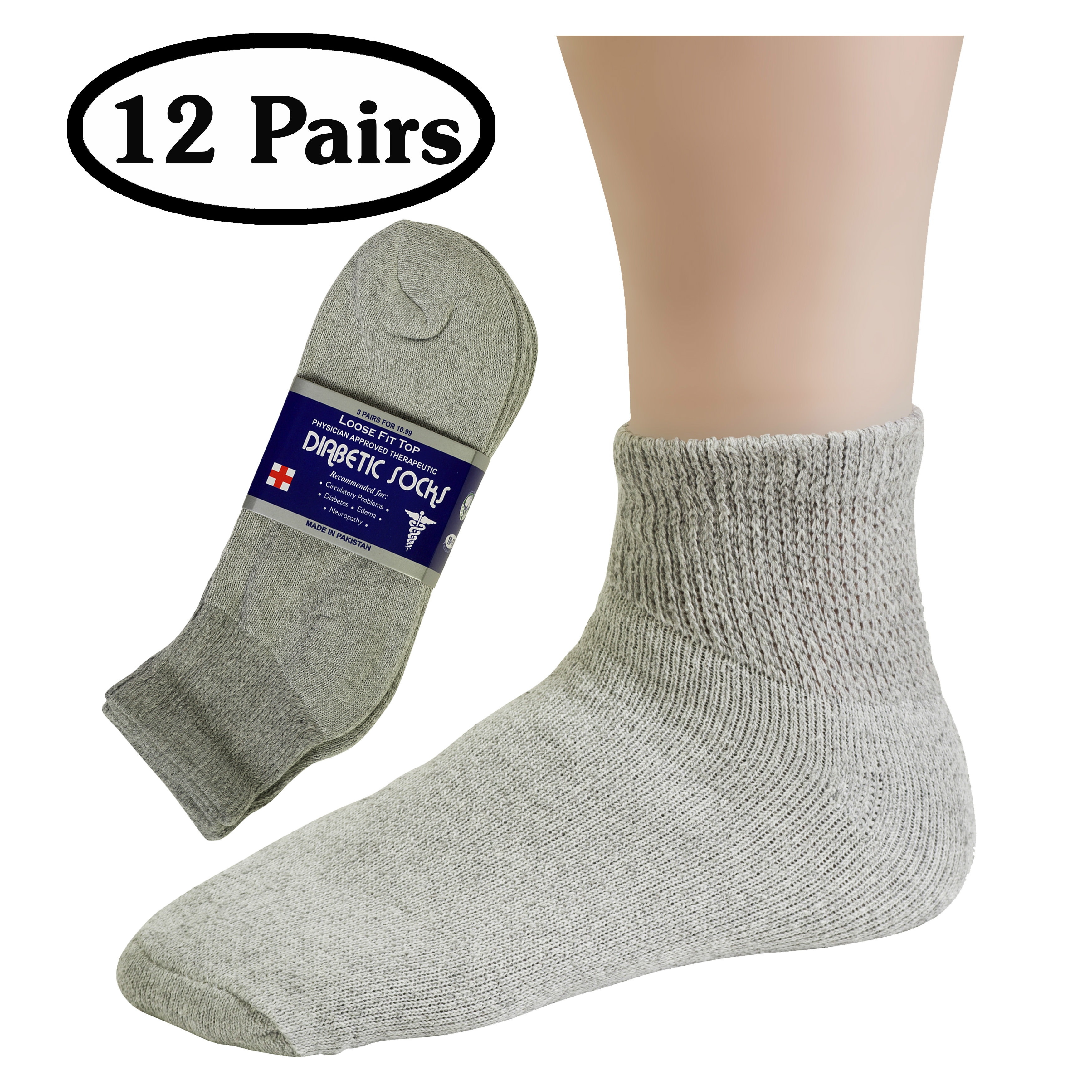 NEW! 6 //12  Pair Black Non-Binding Top DIABETIC Plus Size13-15 Ankle Socks 3