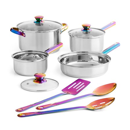 Mainstays Iridescent Stainless Steel 10-Piece Cookware Set, with Kitchen Utensils