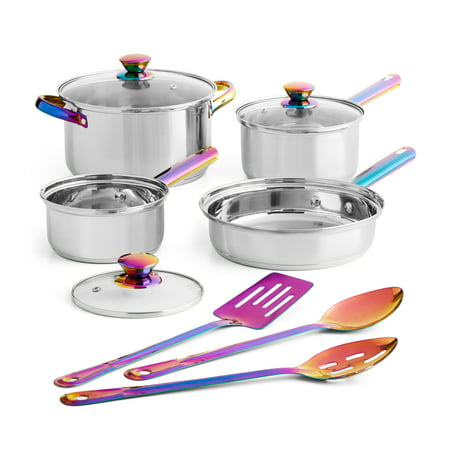 Mainstays Stainless Steel Cookware Set, Iridescent, 10 Piece