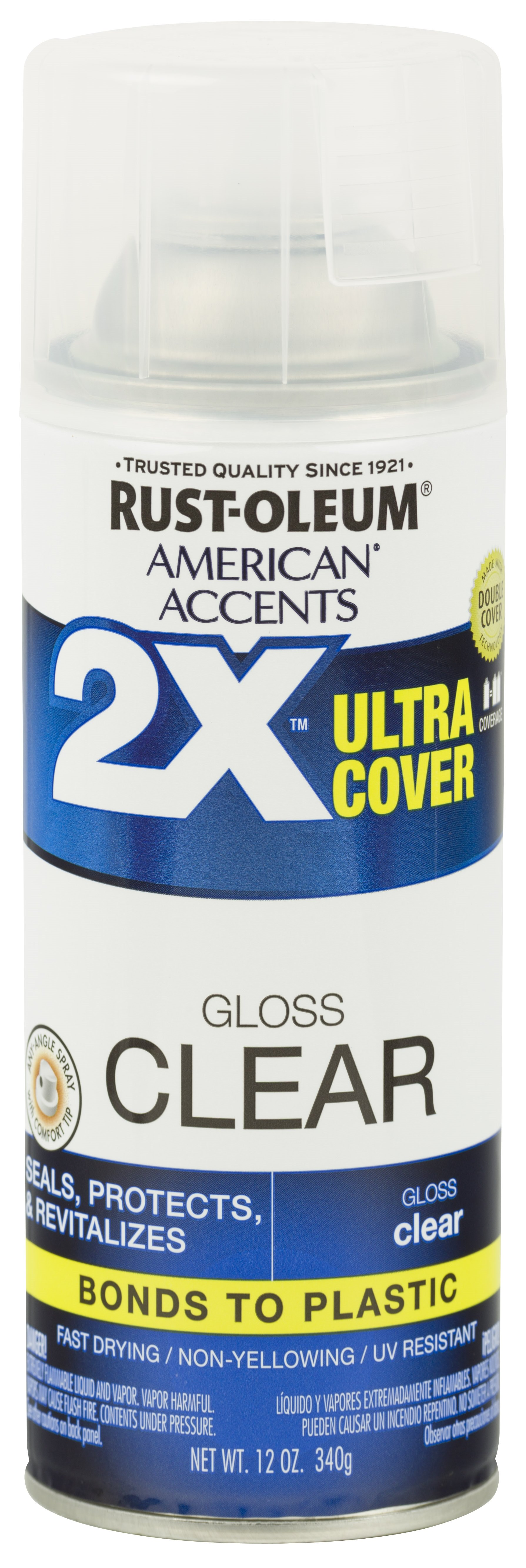 Clear, Rust-Oleum American Accents 2X Ultra Cover, Gloss Spray Paint, 12 oz