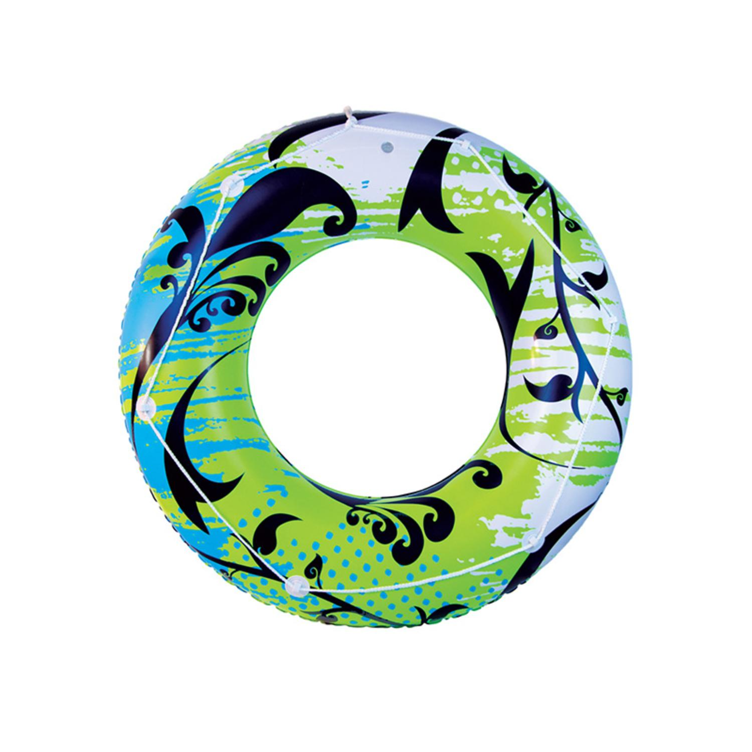 "47"" Ocean Blue and Lime Green Flourish Inflatable Water or Swimming Pool Tube"