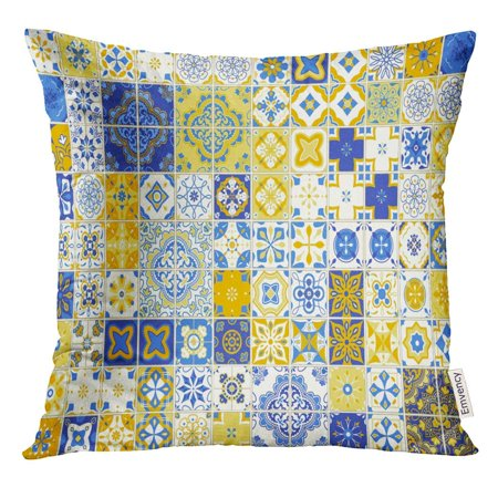 ARHOME Abstract with Portuguese Tiles of Azulejo on White Mediterranean Style Blue and Yellow Design Antique Pillow Case 16x16 Inches Pillowcase