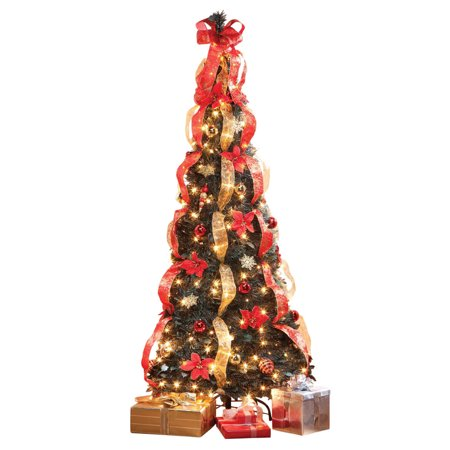 7' Pull-Up Poinsettia Christmas Tree by Holiday Peak, Pre-Lit and Fully Decorated, Collapses for Easy Storage ()