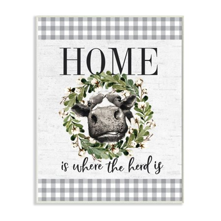 Stupell Industries Home is Where the Herd Is Farm Cow Pun Wall Plaque Design by Lettered and Lined