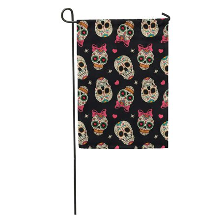 LADDKE Yellow Sugar Mexican Skulls Pattern Day Dead Carnival Halloween Girl Garden Flag Decorative Flag House Banner 12x18 inch - Halloween In Mexico