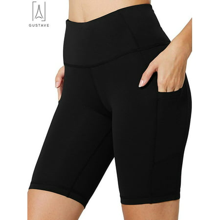 "GustaveDesign Women's High Waist Fitness Yoga Shorts Running Quick-dry Compression Shorts Tummy Control with Side Pocket ""Black, 2XL"""