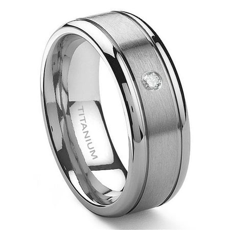Titanium 8mm Solitaire Diamond Newport Wedding Ring Sz 10.0 ()