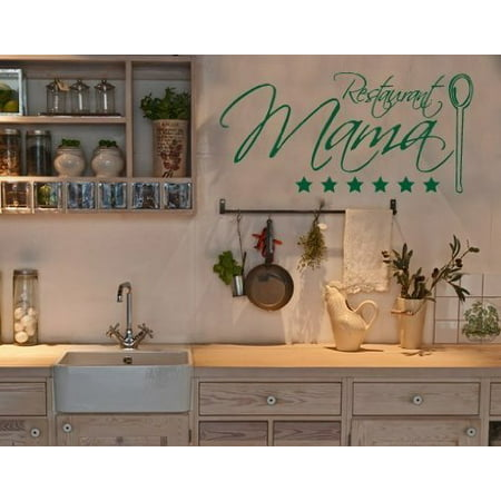 White Cast Iron Wall Decor - Restaurant Mama Wall Decal - kitchen Wall Sticker, Vinyl Wall Art, Home Decor, Wall Mural, Italian quotes and sayings - 2655 - White, 16in x 7in