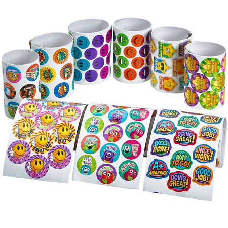 Mini Reward Stickers Assortment - 9 Rolls of Assorted Sheets - Party Favors, Game Prizes Giveaways, Novelty Toys, Wall Decals, Creative Scrapbooks, Personalized Arts and Crafts