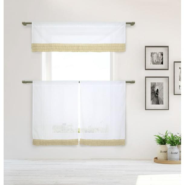 Shilah Cotton Solid Ruffle Trim Kitchen Curtains And Valances Set Walmart Com Walmart Com