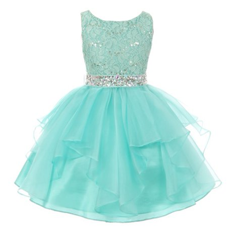 Girls Mint Stretch Lace Crystal Tulle Ruffle Junior Bridesmaid