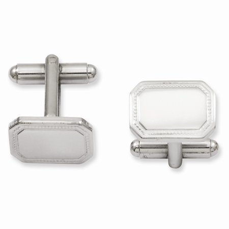 White or Yellow Gold Plated Polished Rectangle Cuff Links - Engravable Gift Item Plated Rectangle Cufflinks