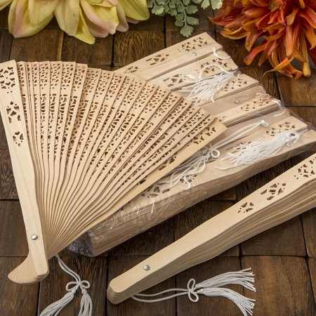 80 Intricately carved Sandalwood fan favors from fashioncraft Scented Sandalwood Fan
