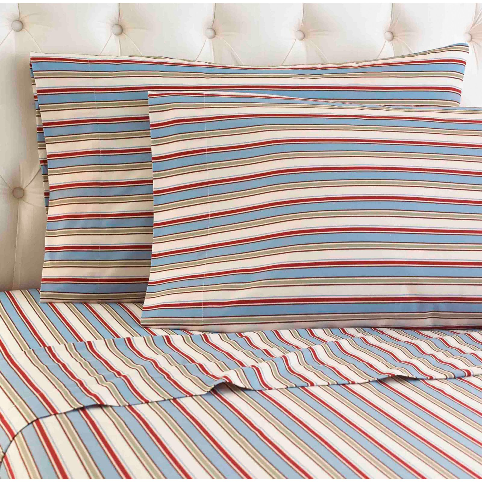 Micro Flannel® Printed Color Sheet Set, Cal King, Awning Stripe