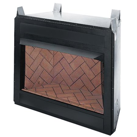 42 in. Vent Free Firebox, Circulating & Clean Faced - Natural White Stacked Refractory Brick Liner