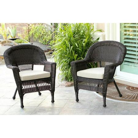 Set Of 4 Espresso Resin Wicker Outdoor Patio Garden Chairs Brown Cushions