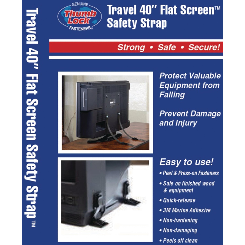 "Ready America 4615 Thumb Lock 100 lb. Capacity 40"" Flat Screen RV TV Safety Straps"