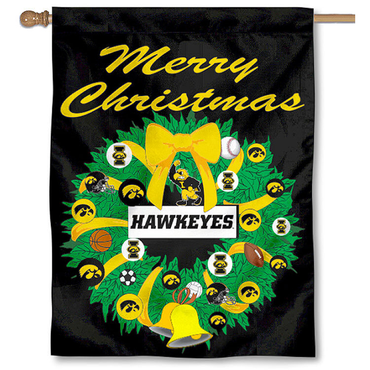 University of Iowa Hawkeyes Merry Christmas Banner Flag
