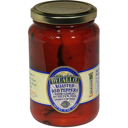 Delallo Roasted Red Peppers With Garlic In Olive Oil, 12 oz (Pack of 12)