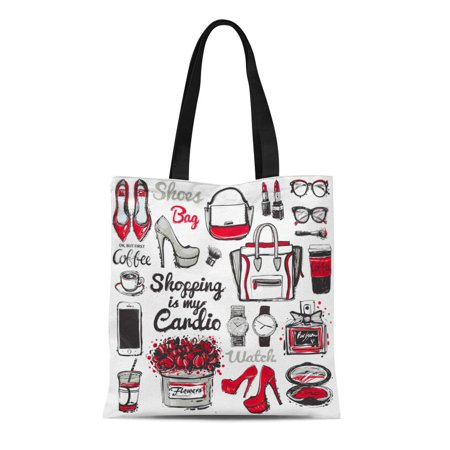 ASHLEIGH Canvas Bag Resuable Tote Grocery Shopping Bags Big Accessories Sketch Graphic High Heel Shoes Glasses Watch Coffee Tote Bag Big Accessories Canvas Tote