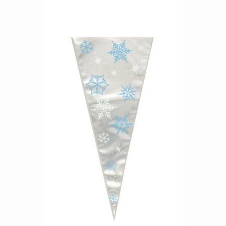 Large Cone Blue Snowflakes Holiday Cellophane Bags, 15.5 x 6.5 in, 20ct](Holiday Bags)