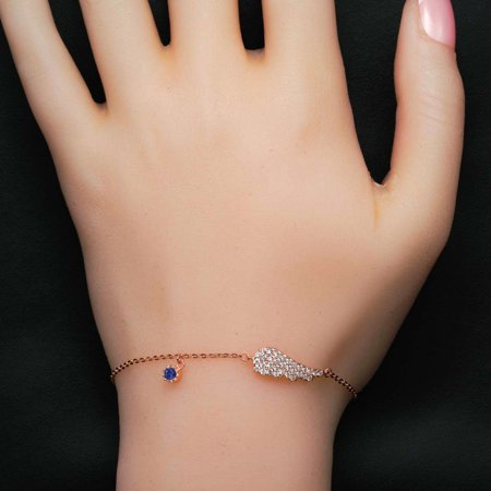 Angel Wing .50 Carat Round Cut Diamond and Sapphire Link Bracelet in 18k Gold Over Silver