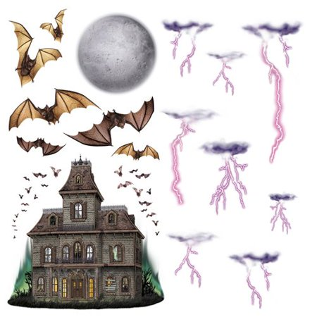 The Holiday Aisle 16 Piece Halloween Haunted House and Night Sky Prop Set (Halloween Sky)