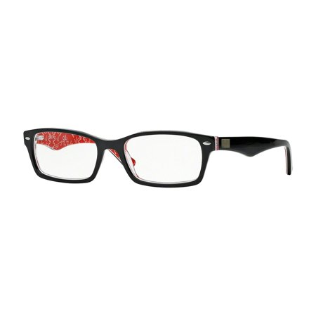 Ray-Ban RX5206 Rectangle Eyeglasses for Unisex - Size - 52 (Top Black On Texture Red)