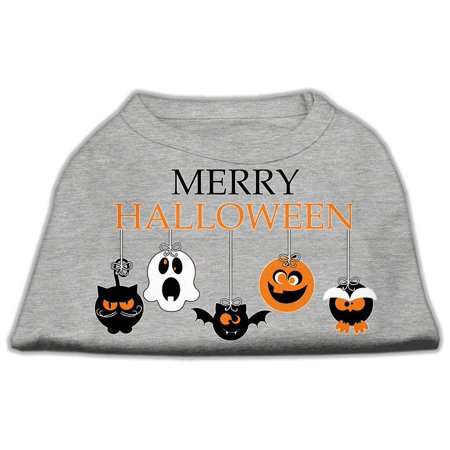 Merry Halloween Screen Print Dog Shirt Grey Med (12) - Merry Halloween