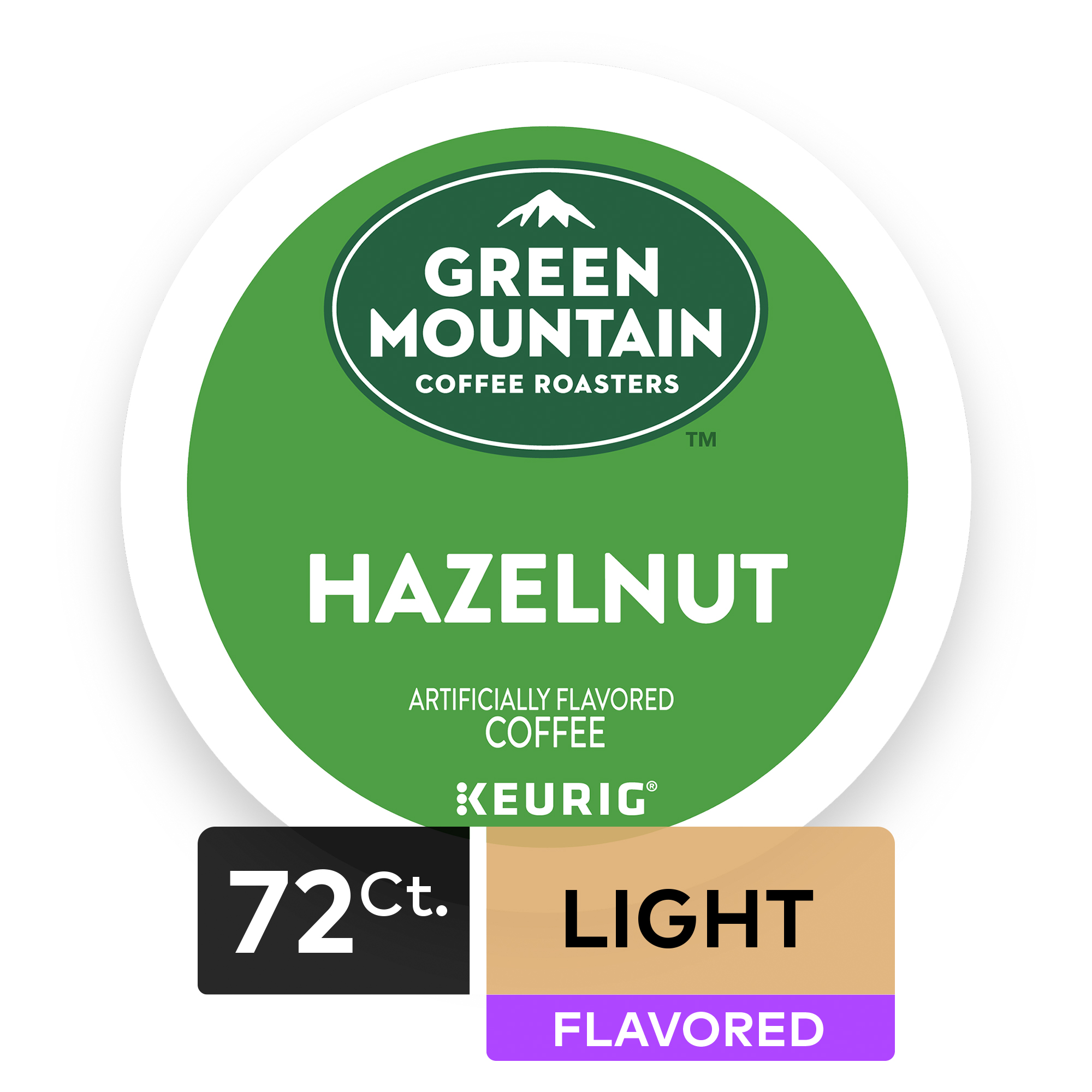 (4 Pack) Green Mountain Coffee Hazelnut, Flavored Keurig K-Cup Pods, Light Roast, 18 Count