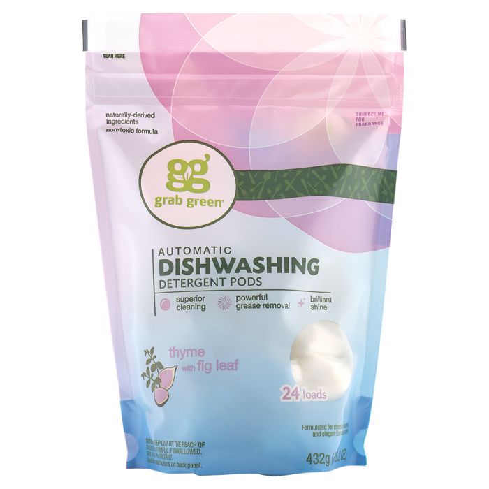 Grab Green Automatic Dishwashing Detergent Pods, Thyme With Fig Leaf, 60 Ct