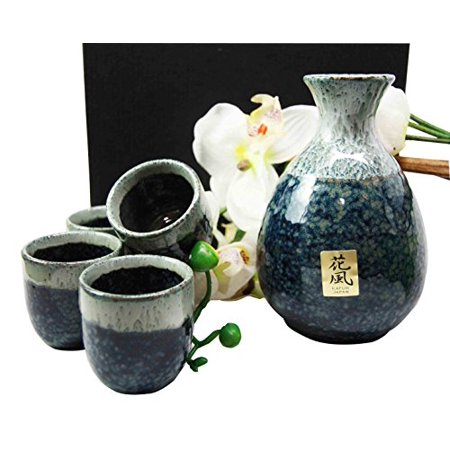 Japanese Glazed Earthenware 10oz Grey Sky Art Sake Set Flask With Four Cups