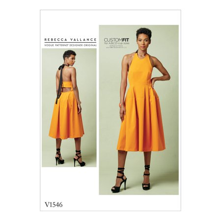 Vogue Patterns Sewing Pattern Misses' Lined Pleated Halter Dress with Neck Tie-14-16-18-20-22