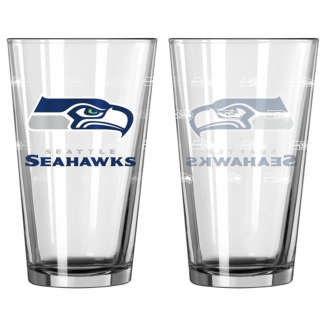 Seattle Seahawks Satin Etch Pint Glass Set